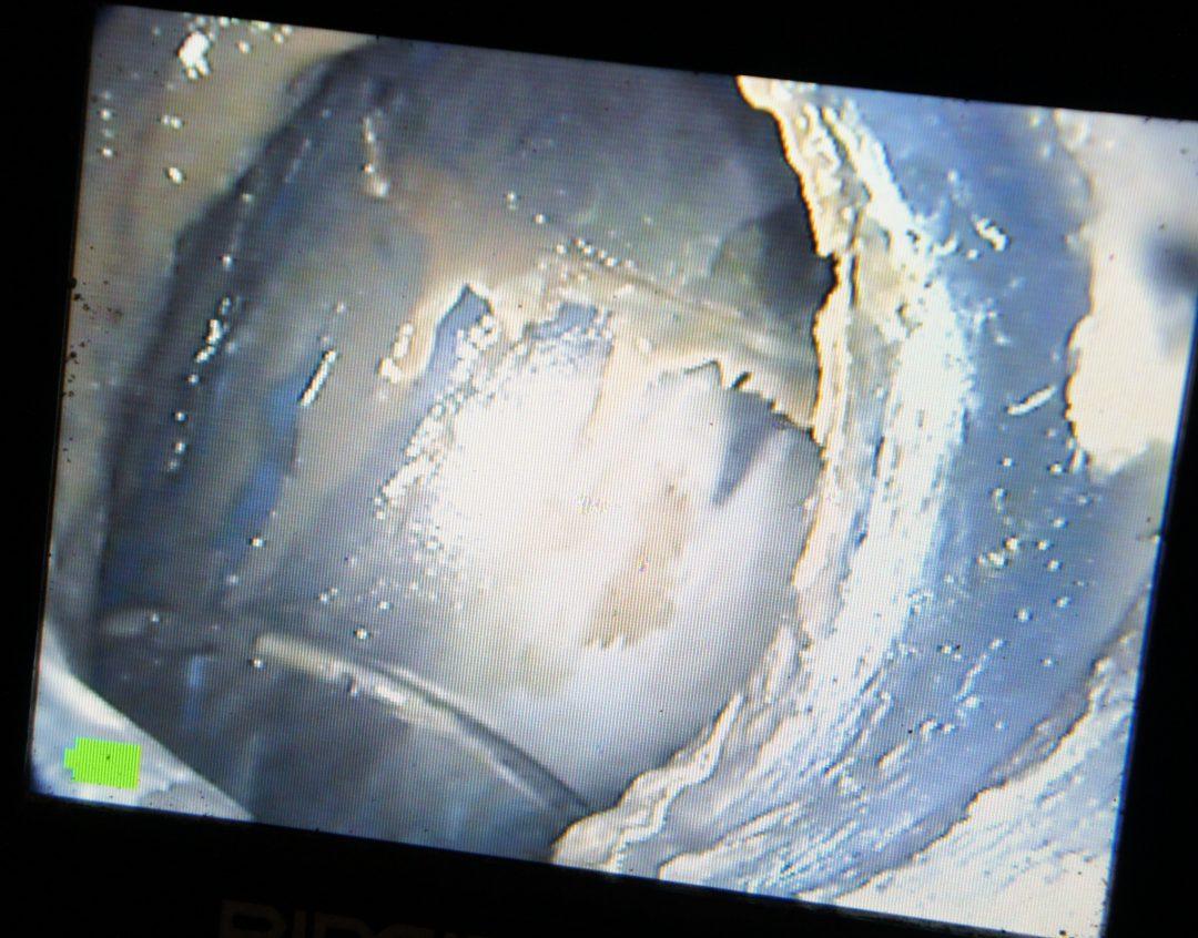Met de rioolcamera zien we dat de gootsteenafvoer verstopt raakt door vetresten in afvoerleiding